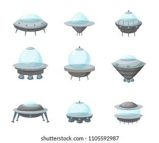 Cartoon Alien Spaceship or Ufo Ship Set Science Technology Travel Cosmic Concept Element Flat Design Style. Vector illustration