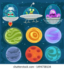 Cartoon aliens in spaceships, set of planets in space background