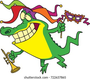 cartoon alligator celebrating mardi gras with a jester hat, trumpet and mask