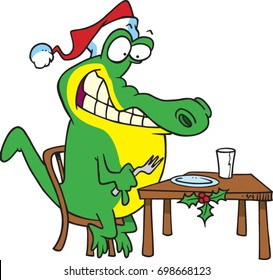 cartoon alligator with a christmas hat anxiously waiting for his meal