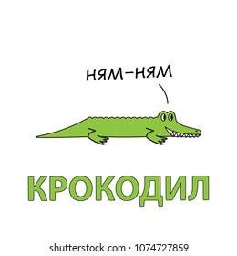 Cartoon alligator flashcard. Vector illustration for children education with Crocodile text in Russian language
