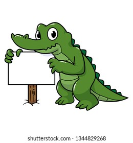 Cartoon Alligator Holding a Blank Sign