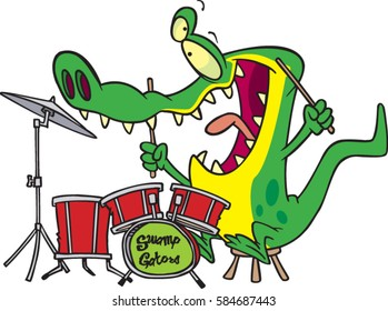 cartoon alligator playing the drums