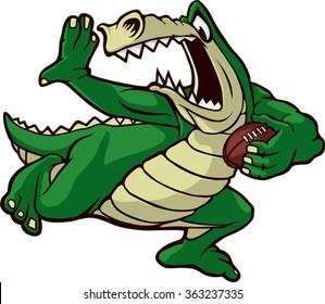 Cartoon Alligator running with a football. Vector File. Running Gator