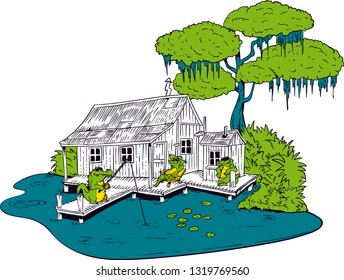 Cartoon Alligators Fishing Shack Swamp