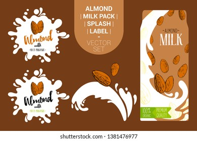 cartoon almond nuts on juice splash. Fresh almond milk pack with Organic labels tags and hand drawn nuts. Colorful nut stickers. Almond badges with splash. Fruit vector package set