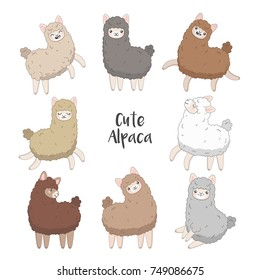 Cartoon alpacas illustration. Funny smiling animal with different fur color: brown, grey, white.