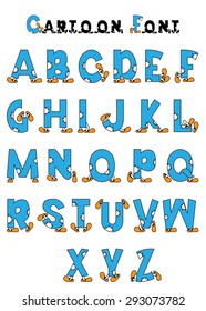 Cartoon alphabet in blue color with decorative elements