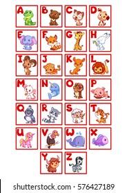 Cartoon alphabet with funny animals for preschool kids. Vector cartoon illustrations.
