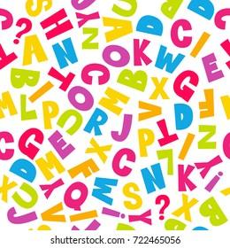 Cartoon alphabet pattern in flat style