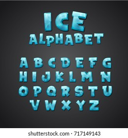 Cartoon alphabet set. Creative comic font. Letters for kids' illustrations, game design, posters, comics, banners. Font made of ice water. Typography vector illustration.
