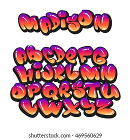 Cartoon alphabet in the style of comics. graffiti