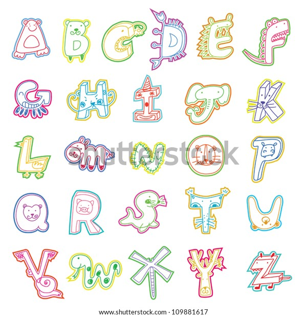 Cartoon Alphabet Template Children Stock Vector Royalty Free