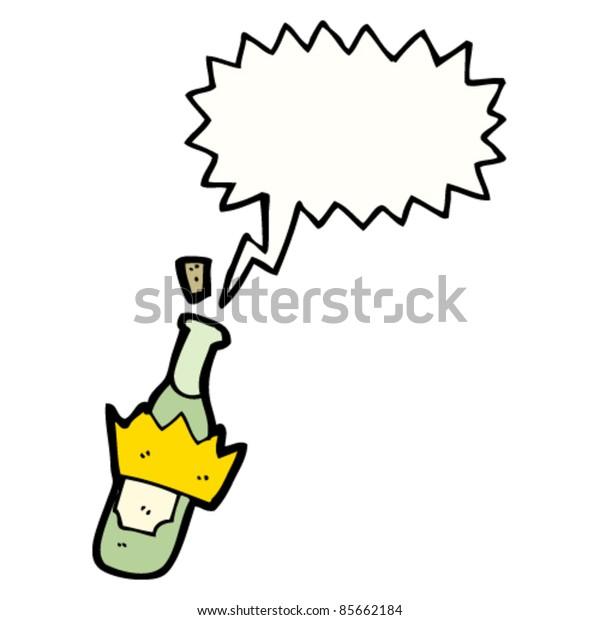 cartoon amazing wine bottle popping it's cork
