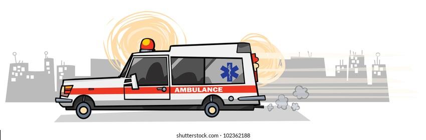 Cartoon Ambulance car.