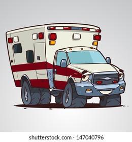 cartoon ambulance car character isolated