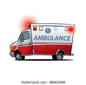 Cartoon ambulance car isolated on the white background