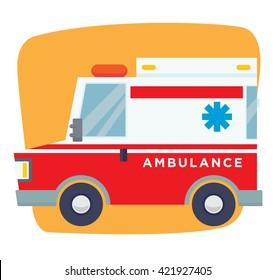 cartoon ambulance flat vector
