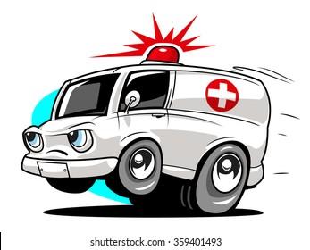 Cartoon ambulance. Vector illustration