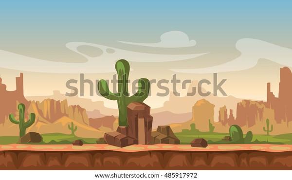 Image Vectorielle De Stock De Paysage Desertique Des Prairies D