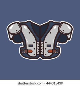 Cartoon american football body protector icon with outline