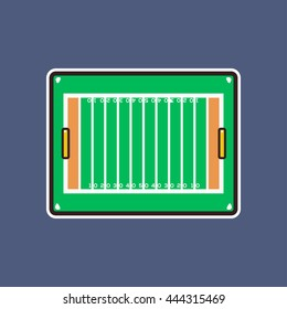 Cartoon american football field board icon with outline