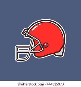 Cartoon american football helmet icon with outline