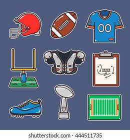 Cartoon american football stuff icon with outline