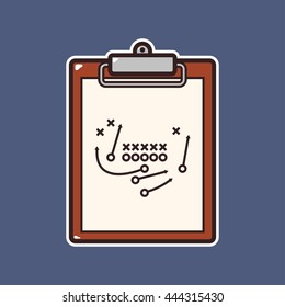 Cartoon american football trick play board icon with outline