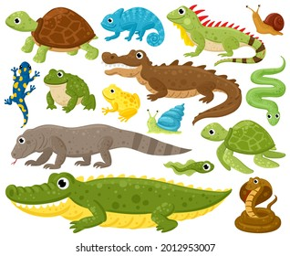 Cartoon amphibians and reptiles. Serpent, reptile and amphibians, frog, iguana and python vector illustration set. Wildlife reptiles and amphibians. Reptile and amphibian lizard, animal wildlife