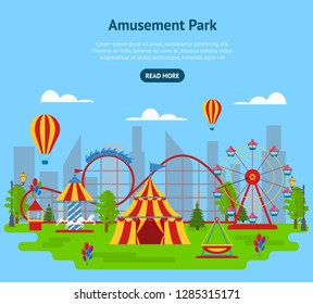 Cartoon Amusement Park Card Poster Ad Landscape Background Concept Flat Design Include of Tent and Carousel. Vector illustration of Panorama