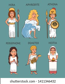 cartoon ancient Greek female deities set, six funny characters goddesses including Hera, Aphrodite, Athena, Persephone, Demeter, Hestia