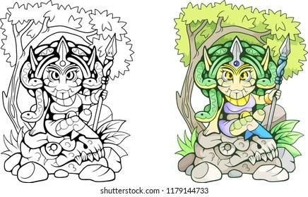 cartoon ancient Greek mythological Medusa, funny illustration