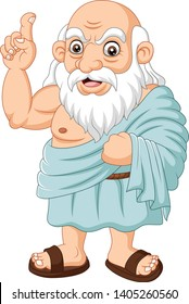 Cartoon ancient Greek philosopher on white background