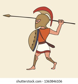 cartoon ancient greek warrior with spear, vector illustration of hoplite armed with spear and shield