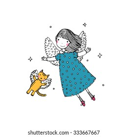 Cartoon angel and cat on the white background.  Hand drawn vector illustration.