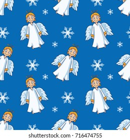 Cartoon Angel Christmas Seamless Pattern - Great for Christmas and Winter Projects, Wrapping Paper, Backgrounds, Wallpapers.