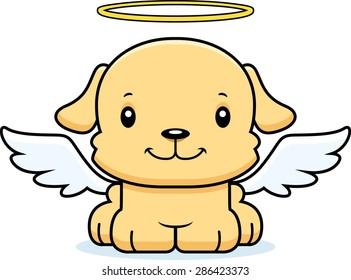 A cartoon angel puppy smiling.