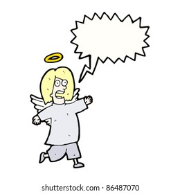 cartoon angel shouting,