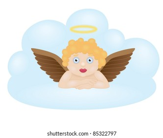 Cartoon angel sitting on cloud isolated on white background