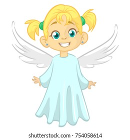 Cartoon angel. Vecor illustration of flying girl angel for Christmas holyday decoration.