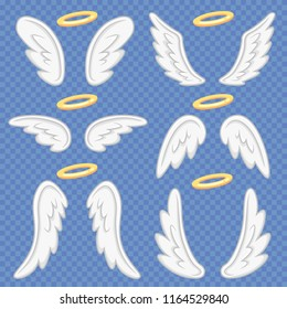 Cartoon angel wings. Holy angelic nimbus and heavenly angels wing flight feather and halo sign. Flying winged angeles, saint fly fantasy vector illustration isolated icons set