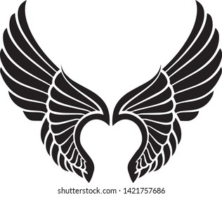 Cartoon angel wings vector in black and white