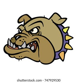 Cartoon Angry Bulldog Mascot Head eps Illustration
