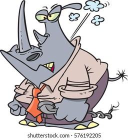 cartoon angry business rhino