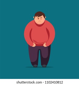 Cartoon angry fat man  Fat Man Feeling Sick. Vector Illustration