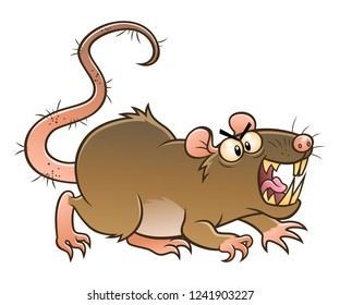 Cartoon angry gray rat. Cartoon pest series.