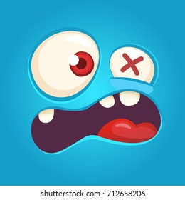 Cartoon angry monster face. Vector Halloween blue monster scared. Monster mask