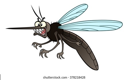 Cartoon angry mosquito in horizontal composition.
