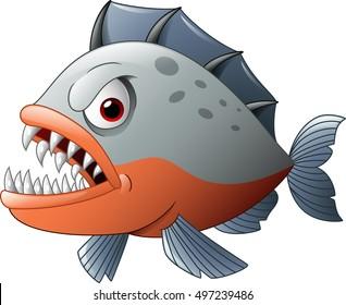 Cartoon angry piranha